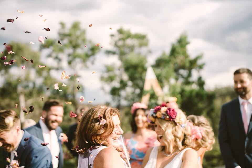 Bride and Rose Petal Shower