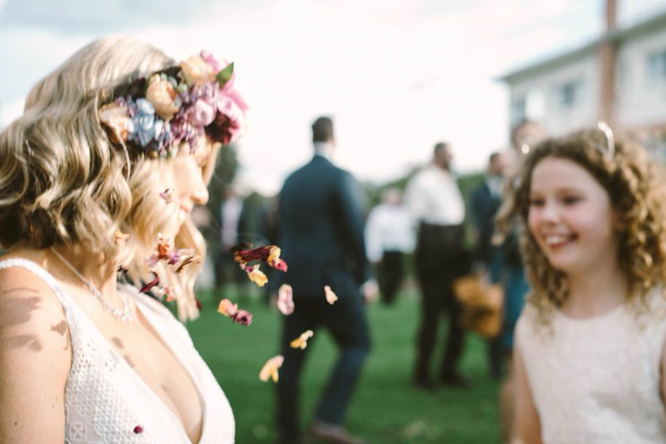 Bride and Flower Petals