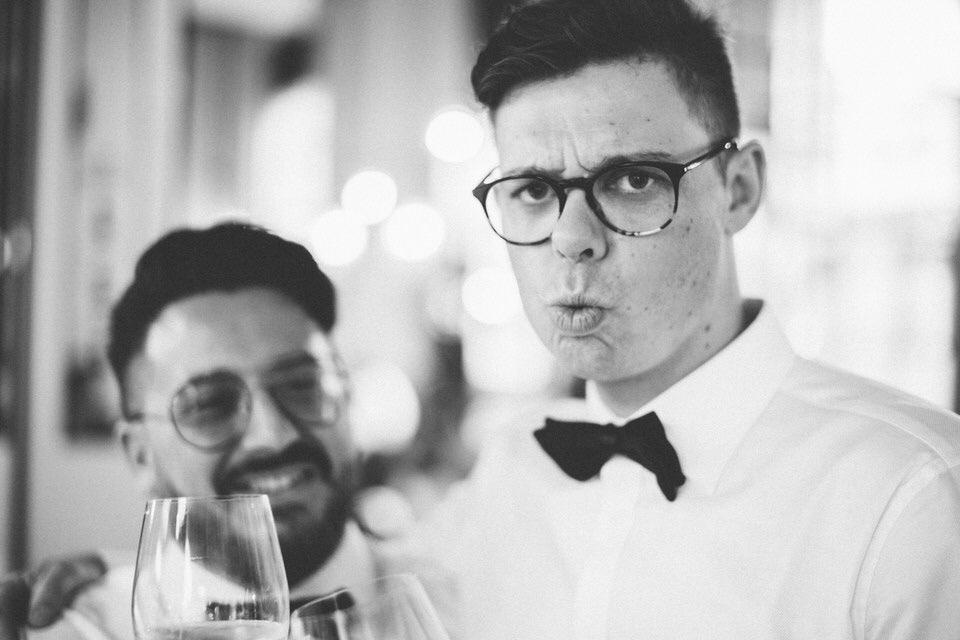 Groom With Wine Glasses