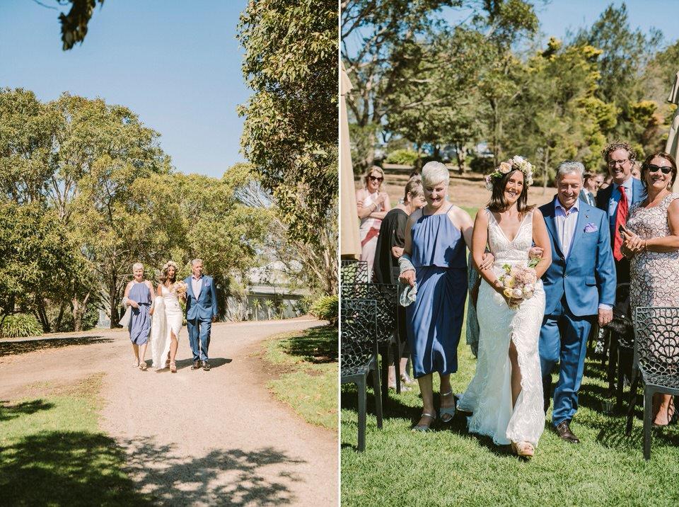 Bride Arrives at Outdoor Wedding